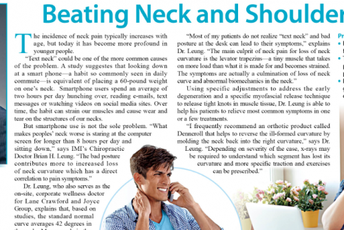 Beating neck and shoulder pain – an article featured in The Standard