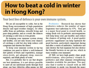 How to beat a cold in winter in HK – an article featured in The Standard