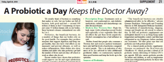 A Probiotic a day keeps the doctor away? – an article featured in The Standard