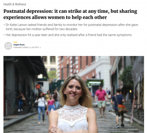 Postnatal depression: it can strike at any time, but sharing experiences allows women to help each other – an article featured in South China Morning Post