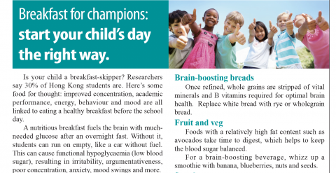 Breakfast for champions: start your child's day the right way – an article featured in The Standard