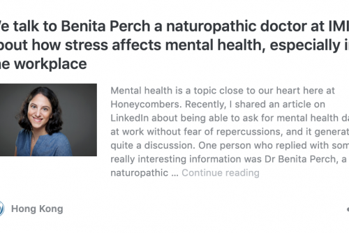 Interview with Dr Benita Perch by Honeycombers.com – How stress affects mental health, especially in the workplace
