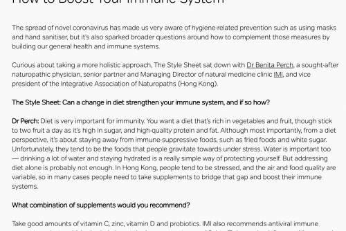 How to boost your immune system – an article featured in Pacific Place