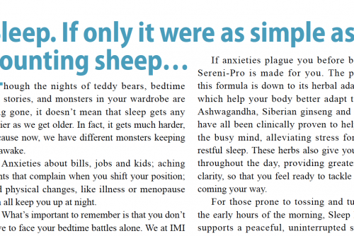 Sleep. If only it were as simple as counting sheep – an article featured in The Standard