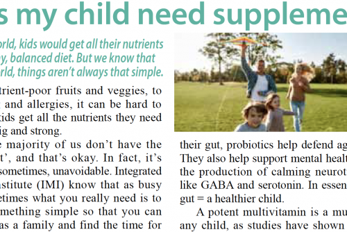 Does my child need supplements? – an article featured in The Standard